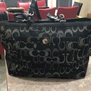 Coach black shoulder diaper bag